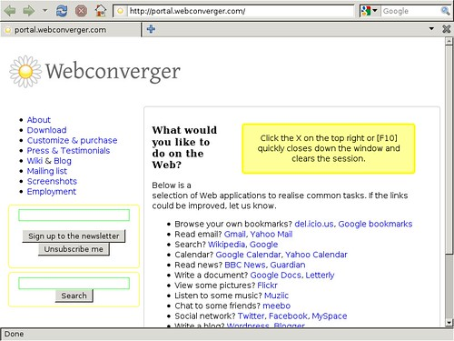 Webconverger booted and ready to use