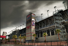 Las Vegas Motor Speedway Richard Petty Terrace (Darius Goins) Tags: clouds racetrack fence pentax lasvegas stadium nevada palmtrees nascar motor attraction richardpetty speeday k20d pentaxart