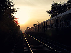 Hope is like sun, as we journey toward it... (D a r s h i) Tags: morning sun train tracks rail railway journey pune darshi kavdi darshita olympussp565uz
