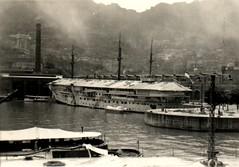 1941: The Maritime Environment. Accomodation hulk HMS Tamar at the Hong Kong naval basin, which took her name. Photo NHSA.