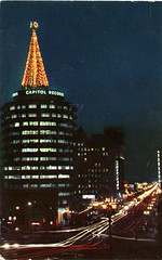 Capitol_Records_Hollywood_C (Edge and corner wear) Tags: christmas records retail architecture modern night century lights community display outdoor postcard decoration architect capitol hollywood mid midcentury