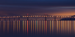 Aligned (maxxsmart) Tags: sanfrancisco california bridge winter color reflection clouds sunrise canon bay january baybridge bayarea marincounty sanrafael 2010 ef70200f4l sanrafaelbridge passingstorm aligned nofilters itsnotalwaysbwor1x1