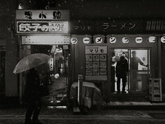 Cold Night, Hot Meal (yy90125) Tags: street urban bw snow station japan night town blackwhite 日本 yokohama grdigital 横浜 モノクロ 白黒 grd