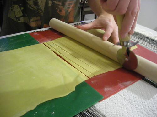 Cutting Up Pasta Dough