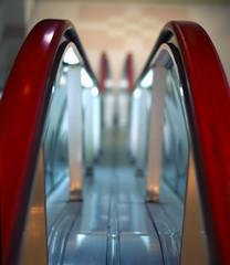 Forgotten Escalator (torode) Tags: red japan 50mm tokyo shinjuku dof bokeh escalator forgotten  kabukicho f18  koma   sonya300 komatheater bentorode benjamintorode