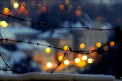 lights behind the wire fence........ (Hausstaubmilbe) Tags: city art night lights steyr wirefence iso12800 mywinners anawesomeshot canoneos7d tamron28300mmf3563macrovc taborstiege