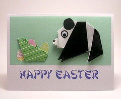 Origami Panda Card (kittykatkards) Tags: pink white black green yellow paper easter panda handmade homemade card eggs greetingcard cardstock