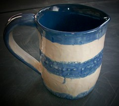 Blue&White Small Pitcher 2010 (Chipmunk Hill Arts) Tags: ceramic clay earthenware handbuilt katiewolfe chipmunkhillartscom