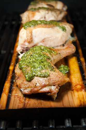 Planked Pesto Chicken