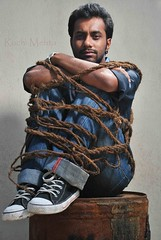 (Roochster) Tags: blue portrait people india man men fashion asian indian jeans tied mumbai ruchi ruchimehta roochster