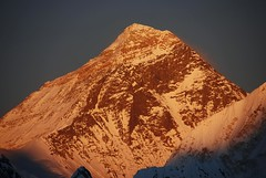 Gokyo Ri 05-1 Everest North Face and Southwest Face Close Up From Gokyo Ri At Sunset (MountainsOfTravelPhotos) Tags: from ri sunset southwest face up close north everest gokyo at