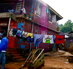 Clothes hung out to dry in Freetown, Sierra Leone (The Guarani Project) Tags: clothes sierraleone washing freetown
