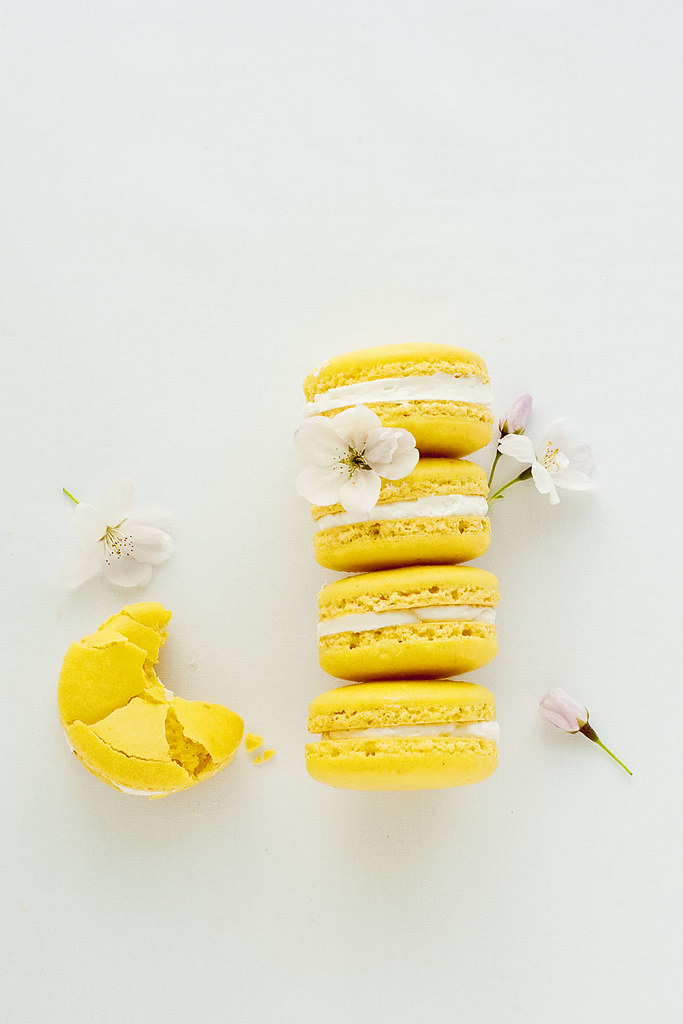 meyer lemon macarons - top view