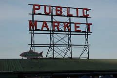Public Market Sign (earthdog) Tags: seattle travel vacation fish sign word neon pikeplacemarket 2010 publicmarket needscamera needslens