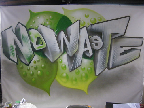 Company Name Spraypainted for a Tradeshow Backdrop