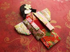Origami Paper Doll - Ichigo (umeorigami) Tags: japan japanese origami doll yukata kimono paperdoll washi ningyo chiyogami shioriningyo warabeningyo