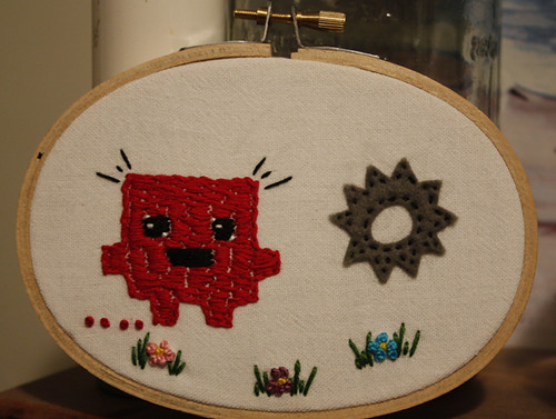 Super Meat Boy embroidery!