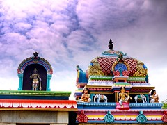 God is in the details. (legends2k) Tags: sky tower statue clouds temple lumix god structure panasonic relief g1 spirituality colouring deity ludwigmiesvanderrohe fourthirds writeup chettinad vimana kalasam villagegods karupar microfourthirds panasoniclumixdmcg1  melkudi  heathengods  familydeity   villagedeities