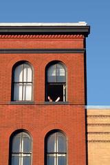 (chris-tina) Tags: travel usa sun washingtondc spring apartment sunny tourist georgetown brickbuilding happyfeet archedwindows canong10