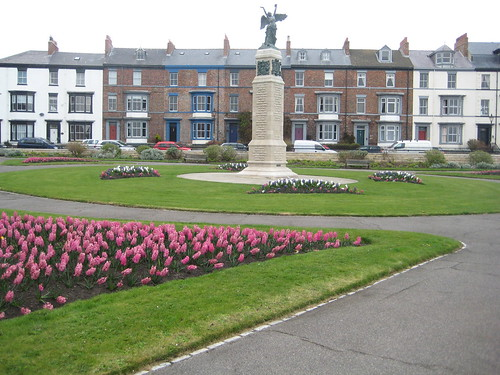 The pungent aroma of pink, white and purple hyacinth fills the air at this War Memorial on the site of the WWI bombardment of the Hartlepool Headland, April 2009