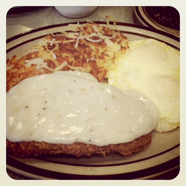 Country fried steak and eggs!