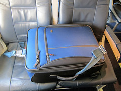 Luggage gets a seat (pr0digie) Tags: airplane luggage seat carryon rollerboard suitcase seatbelt