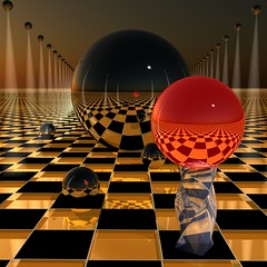 ~ BIG BIG & SHINY ~ (ViaMoi) Tags: canada reflection art modern photoshop ball lights 3d artist graphic render ottawa digitalart orb canadian chrome sphere checker viamoi