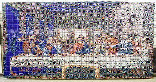 Created Using 4050 Cubes As Pixels And Measuring 8.5 Feet X 17 Feet, The Rubiku0027s  Cube Last Supper Was Created By Artist(s) At Torontou0027s Cube Works.