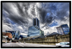 Buckhead Artery (aw-photo) Tags: architecture clouds photoshop canon artistic vibrant blues saturation 5d ultrawide buckhead cl hdr textured urbex awp photomatix awphoto awphotography aubreywilliamscom aubreywilliamsphotography wideordie