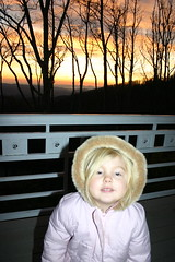 Anna at sunrise in the NC Mountains - just woke up