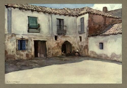 003-Casas antiguas en Almázan-Soria-An artista in Spain 1914- Michael Arthur C.