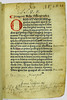 Coloured initial and paragraph mark with manuscript annotations, title and ownership inscriptions in Mela, Pomponius: Cosmographia, sive De situ orbis