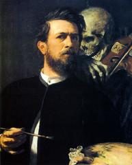"Arnold Boklin, Self-Portrait with Death playing the Violin, 1872. Berlin, Nationalgalerie (renzodionigi) Tags: portrait painting design engraving autoritratto ritratto arts"" ""fine ""selfportrait"""