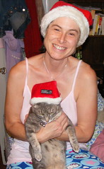 Xena and I wearing Santa hats