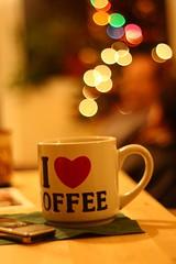 I heart Coffee (Sam_Butler) Tags: christmas uk winter cup coffee 50mm lights scotland december dof sam bokeh depthoffield butler mug f18 18 50 2009 eastkilbride sambutler pentacon50mmf18