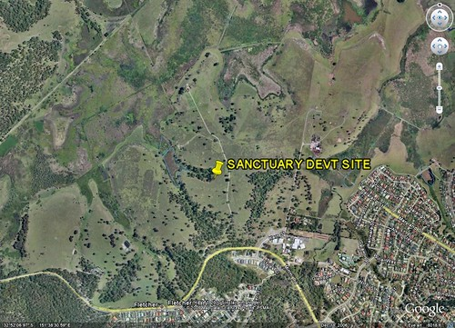 site of Landcom's project, Sanctuary (image from Google Earth, marking from me)