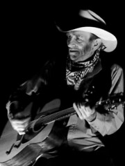 00791-Old Cowboys and Guitars-1-B&W (Jim Vegas Cowboy) Tags: redrockcanyon blackandwhite usa cowboy lasvegas guitar nevada country campfire cowboyhat horsebackriding