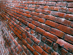 More Bricks for you... (Dialed-in!) Tags: street old city red urban texture oregon canon portland found vanishingpoint northwest or horizon bricks powershot worn weathered pdx linearperspective unusualperspective leadinglines g9 dialedin diminishingpoint