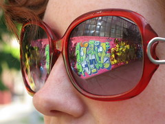 i miss summer... (Luna Park) Tags: nyc red summer ny newyork reflection sunglasses brooklyn graffiti cern lunapark greenpoint osgemeos finok