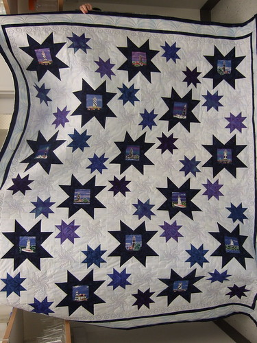 Blue lighthouse quilt finished