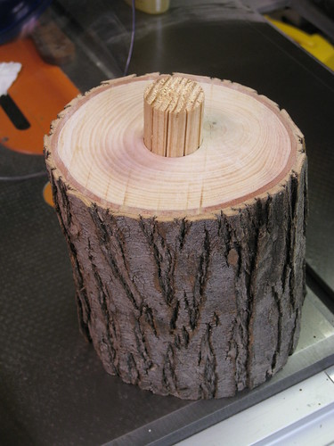 floating tenon in log stand base mortise