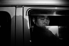 * (kspr (not.unique)) Tags: china shadow blackandwhite sun man window car 35mm nikon shanghai grain streetphotography documentary sw nikkor reflexion