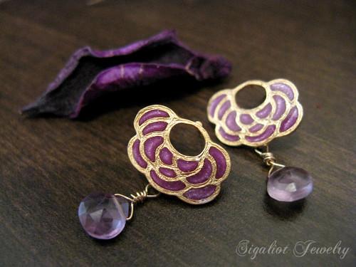 Amethyst Lotus Earrings