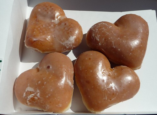 Krispy Kreme plain glazed on Valentine's Day