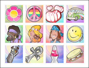 free Psychedelic Sixties slot game symbols
