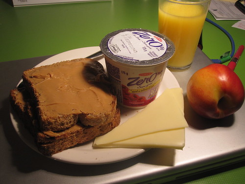 toasts with PB, cheese, fruit, yogourt, OJ from the bistro - free