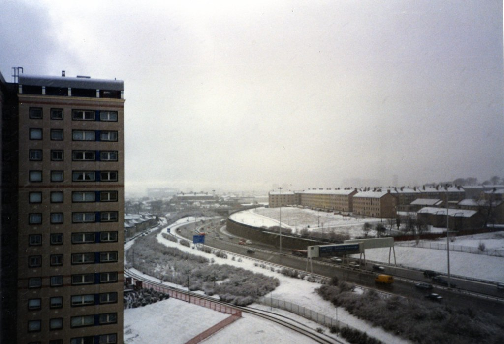 Ruchazie from Cranhill High Flats, Winter 1993