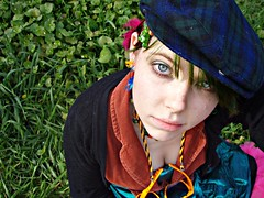 St. Patrick's Day 2009 (Megan is me...) Tags: blue red portrait orange color green colors smile fashion rose yellow self hair effects photography one diy clothing crazy rainbow eyes colorful neon pretty colours russell mckay bright unique awesome meg violet plum megan style nuclear special clothes kind fishbowl iguana jerome colored mayhem 2009 punky striped bleached dyed stpatricksday napalm sfx rosered megface meganisme bleachednapalmorange