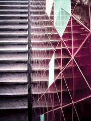 modernism (nyah74) Tags: pink red green net lines yellow wall architecture modern stairs dark tile triangle maroon interior modernism istanbul line hexagon marble winered interiorarchitecture unkapani tekel unkapan derz tekelbinas