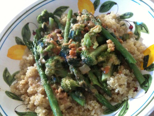Sauteed Veggies in Peanut Sauce over Quinoa
